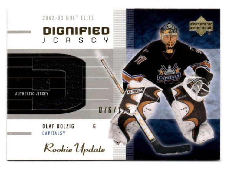 2002-03 Upper Deck Rookie Update Jerseys Gold #DOK Olaf Kolzig (60-X131-CAPITALS)