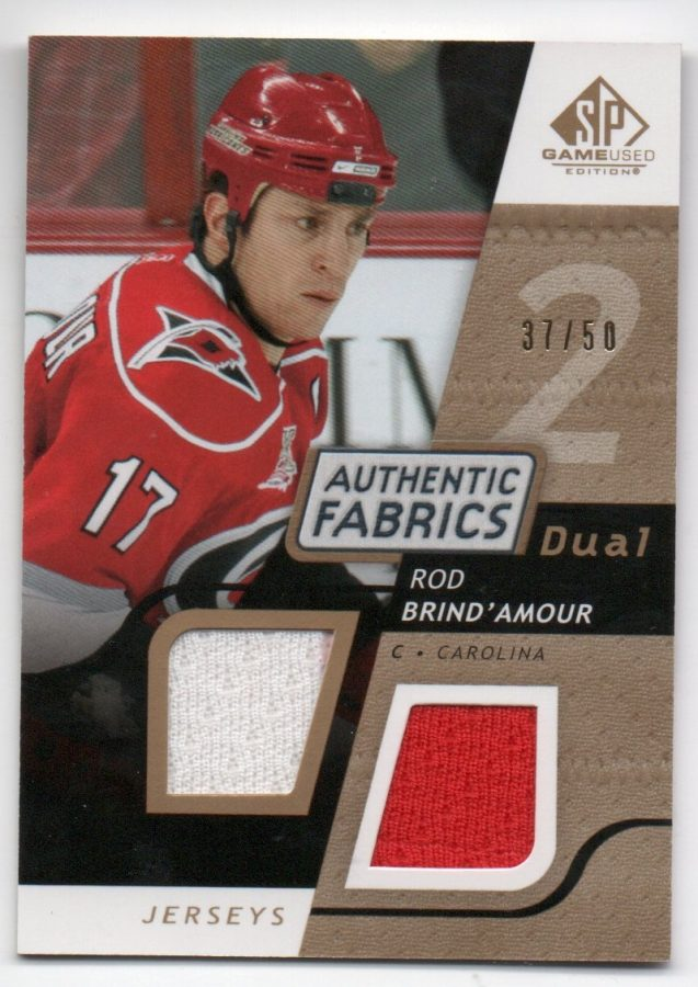 2008-09 SP Game Used Dual Authentic Fabrics Gold #AFRD Rod Brind'Amour (60-X117-HURRICANES)